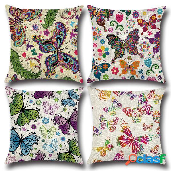 Fantasy butterfly 45 * 45cm fodera per cuscino cuscino in lino lino car decor home federa decorativa