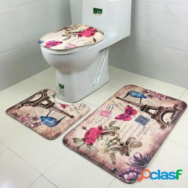 3pcs bagno antisdrucciolevole tappetino della copertura della sede del tappeto coral velvet mats soggiorno decorazione domestica