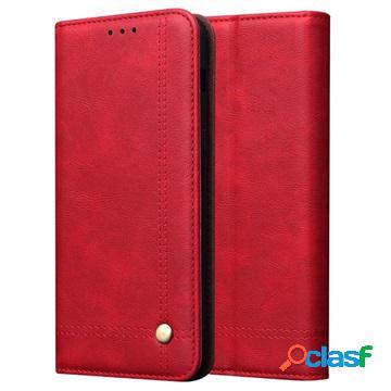 Custodia a portafoglio serie retro per huawei p smart z - rossa