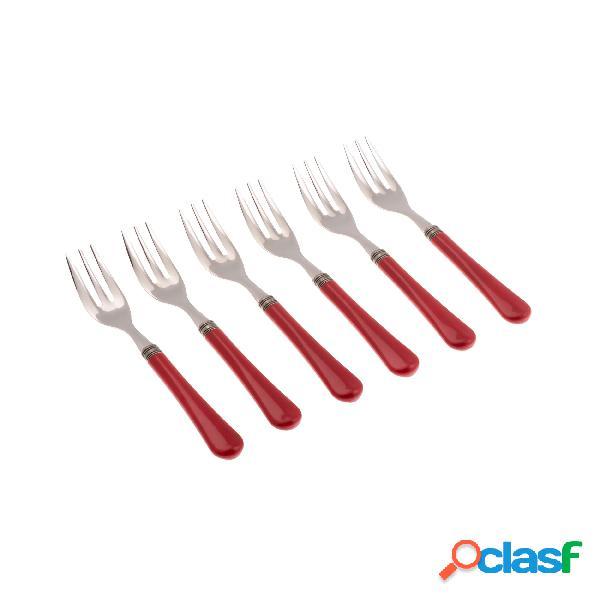 Forchettine da dolce set da 6 pezzi giulietta in acciaio inox 18/10 manico in metacrilato spessore 1,5 mm colorato rosso