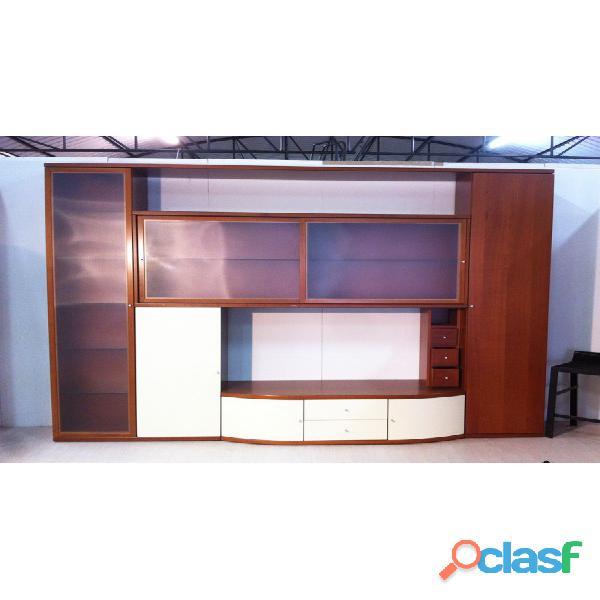 Soggiorno ciliegio/vetro con vano porta TV L 280 cm