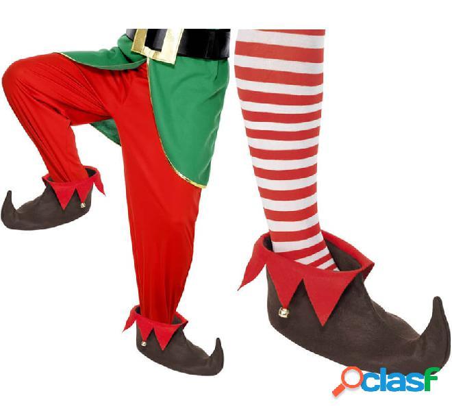 Scarpe da elfo marrone con sonaglio