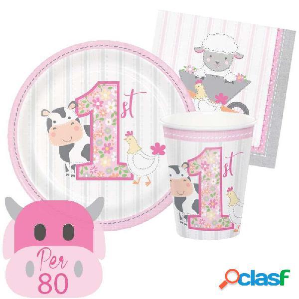 Kit n.29 fattoria 1 anno rosa - coordinato tavola per 80 persone