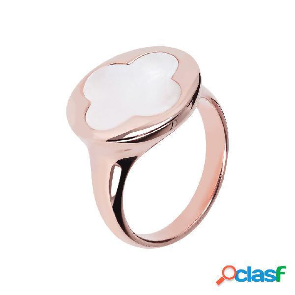 Anello con sigillo quadrifoglio | rose gold / 12 / madreperla