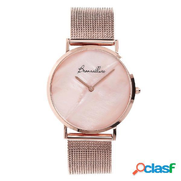 Orologio in acciaio con madreperla rosa | rose gold / 3.5 cm