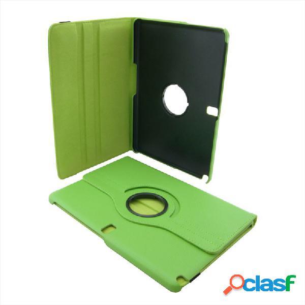 Custodia a libro color verde con stand rotante a 360° e chiusura con elastico per samsung galaxy note (10.1) 2014 edition p600