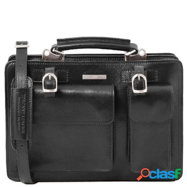 Tuscany leather tl141269 tania - borsa a mano in pelle da donna - misura grande nero