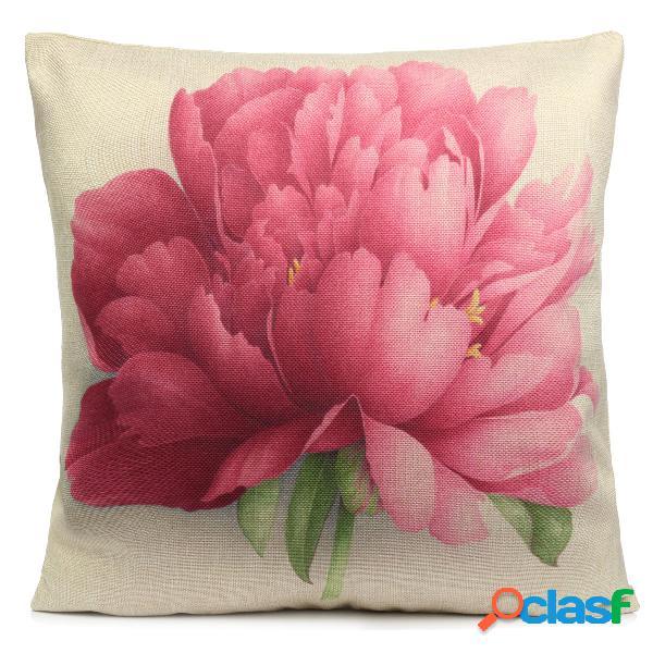 Rose di fiori cotone lino throw cuscino cuscino divano letto cuscino auto cover decorazione casa