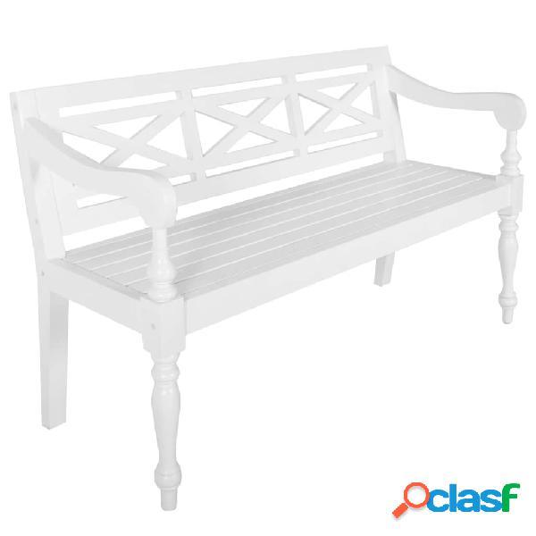 Vidaxl panchina batavia 136 cm legno massello di mogano bianco