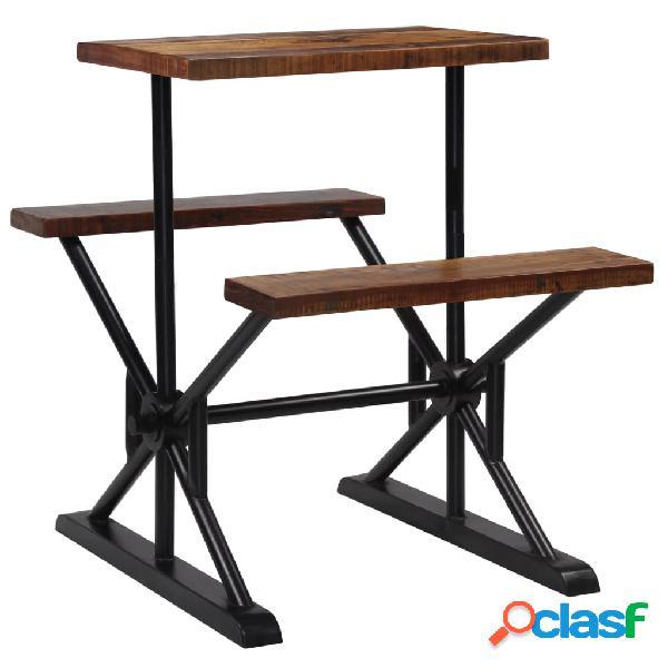 Vidaxl tavolo da bar con panche in massello di recupero 80x50x107 cm
