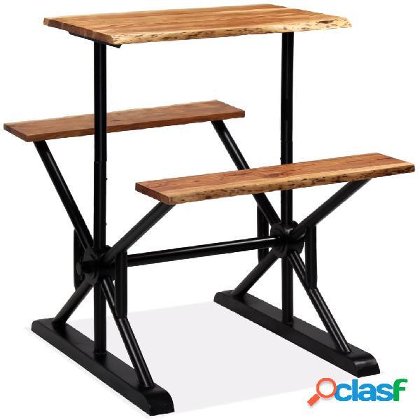Vidaxl tavolo da bar con panche in massello di acacia 80x50x107 cm