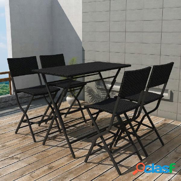 Vidaxl set da giardino 5 pz pieghevole in acciaio e polyrattan nero