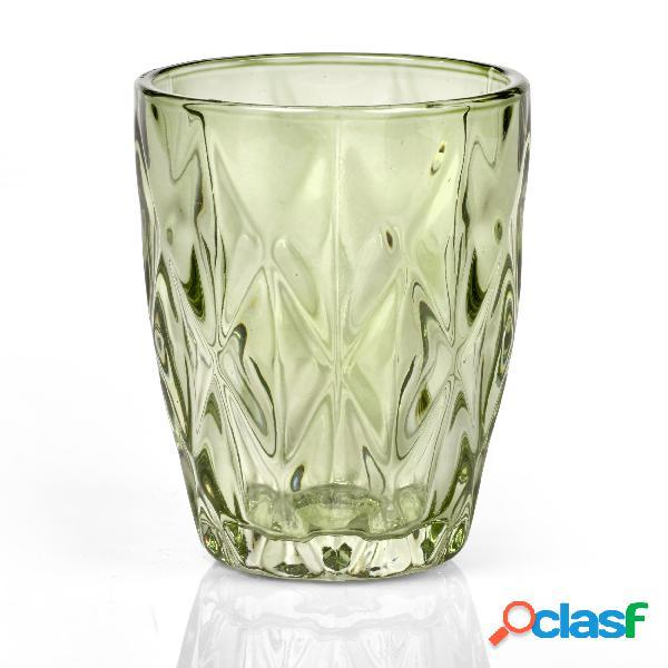Bicchieri acqua tumbler drink 6 pezzi diametro 8xh10 cm - 250 ml in vetro pressato adatto alla lavastoviglie colore verde