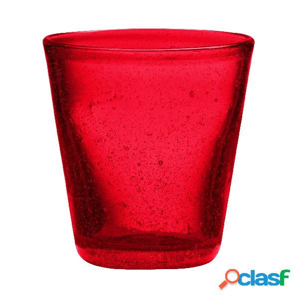 Bicchieri acqua tumbler drink 6 pezzi diametro 9xh10 cm - 300 cc in vetro soffiato adatto alla lavastoviglie colore rosso