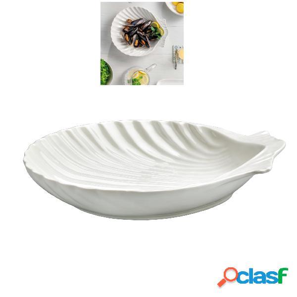 Conchiglia in porcellana alluminica al 30 % miami 30x20xh5 cm lavabile in lavastoviglie, ideale per la ristorazione anti sbeccatura