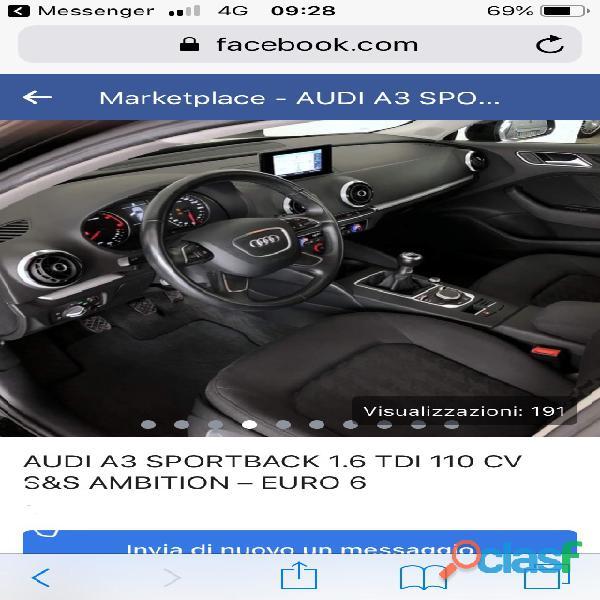 Audi A3 sport bake 1.6 di 110 cv