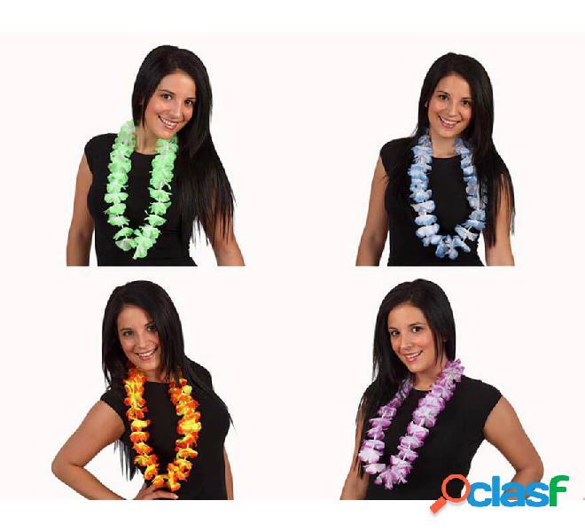 Collana in tessuto bicolore con collana hawaiana 4 assortiti