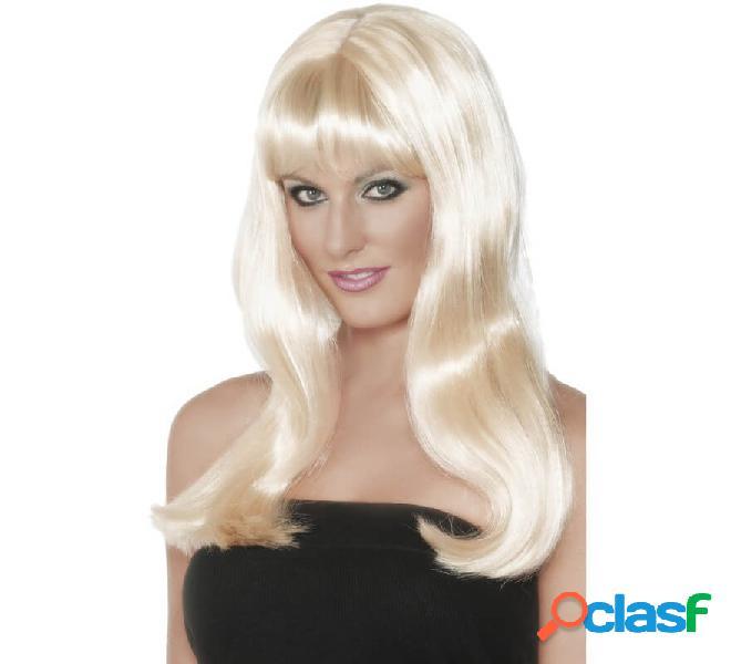 Lunga parrucca bionda con frange e strisce