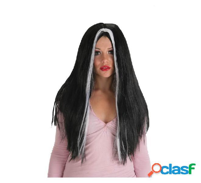 Lunga parrucca nera di morgana con stoppini bianchi