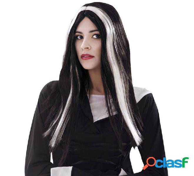 Lunga parrucca da strega in bianco e nero