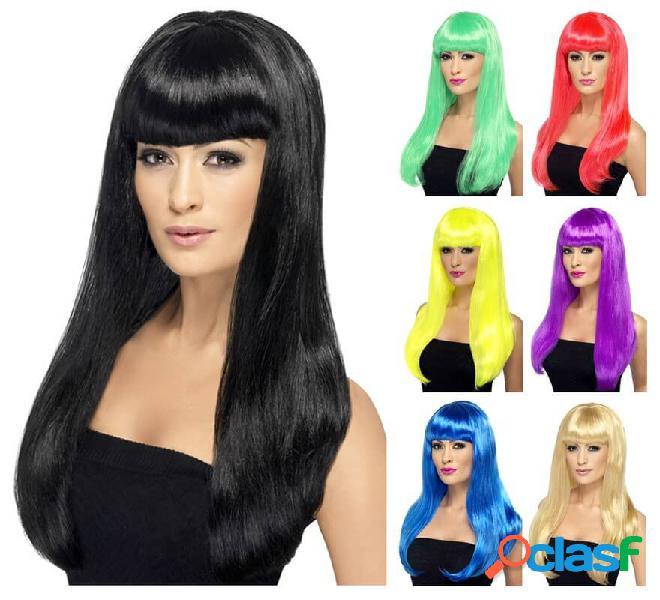 Lunga parrucca babelicious con frangetta in vari colori