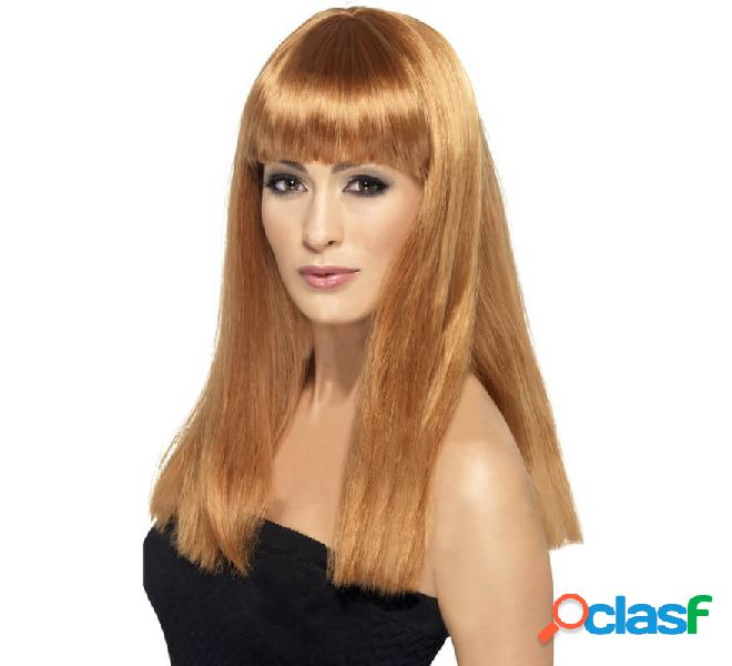 Lunga parrucca glamourama color castagna con frangia