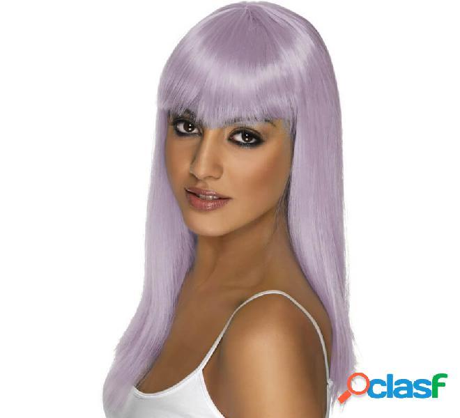Lunga parrucca lilla glamourama con frangia