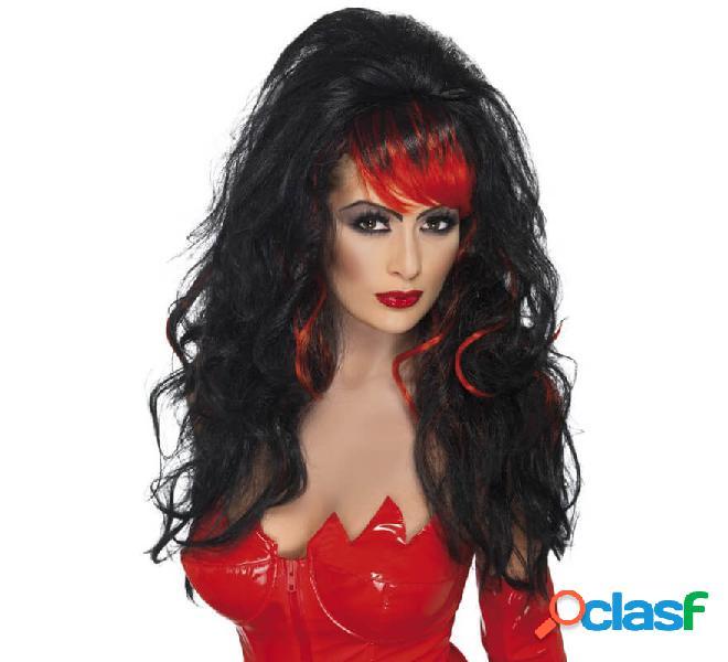 Lunga parrucca nera con stoppini rossi