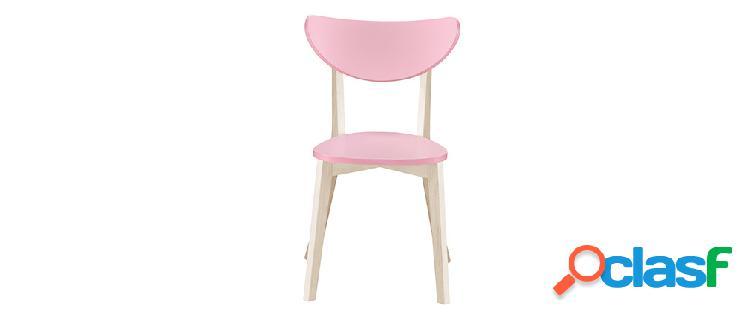 Gruppo di 2 sedie rosa e legno chiaro leena