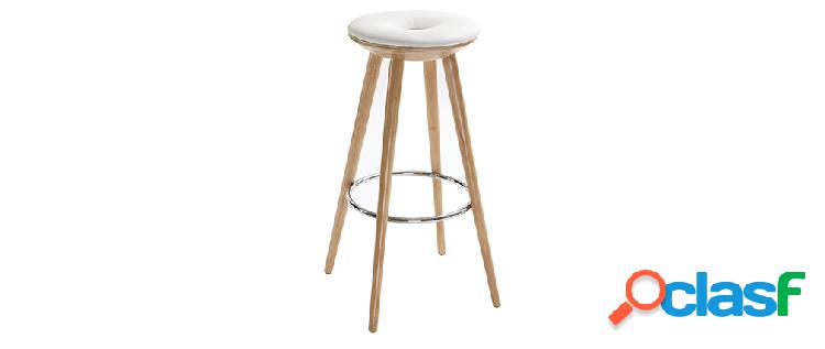 Sgabello da bar stile scandinavo bianco gambe legno chiaro 79cm nordeco