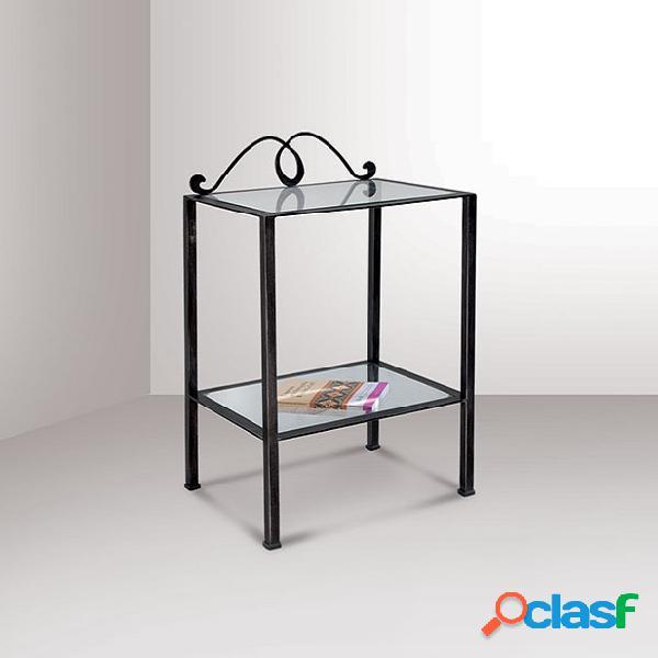 Comodino ferro nizza vetro