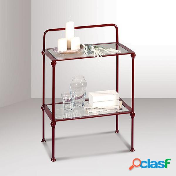 Comodino ferro zaffiro vetro