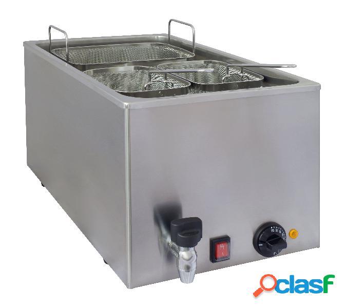 Bollitore pasta elettrico con potenza 3500 w, 3 cestelli, rubinetto e capacità 25 litri