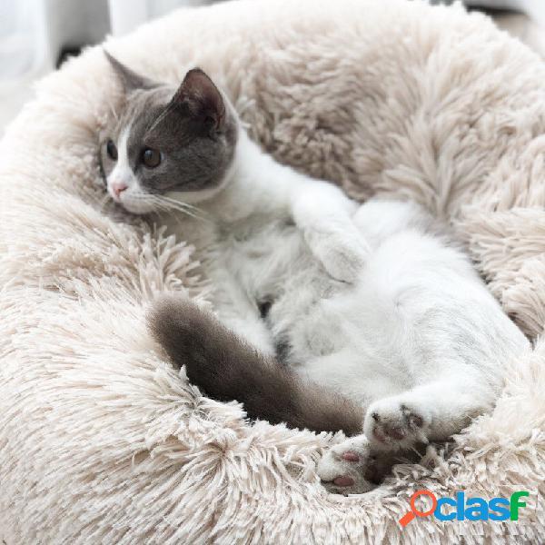 Winter letto per animali domestici warm dog cat cat long plush super soft pet round bed kennel dog cat comodo cuscino per dormire
