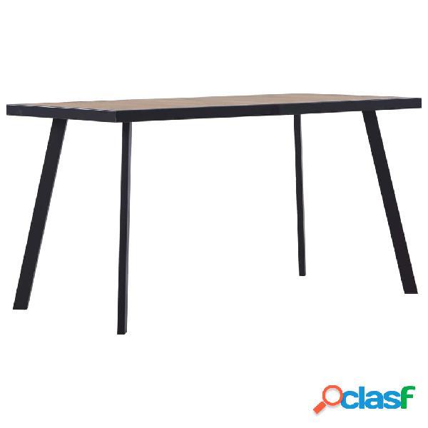Vidaxl tavolo da pranzo legno chiaro e nero 140x70x75 cm in mdf