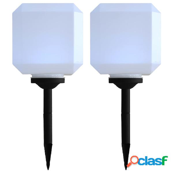 Vidaxl lampade solari da esterni 2 pz a led cubiche 20 cm bianco