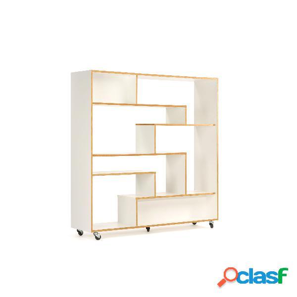 Divisorio southbury in legno ingegnerizzato, dimensioni 140 x 35 x h143 cm, peso 44 kg, finitura bianco, rovere