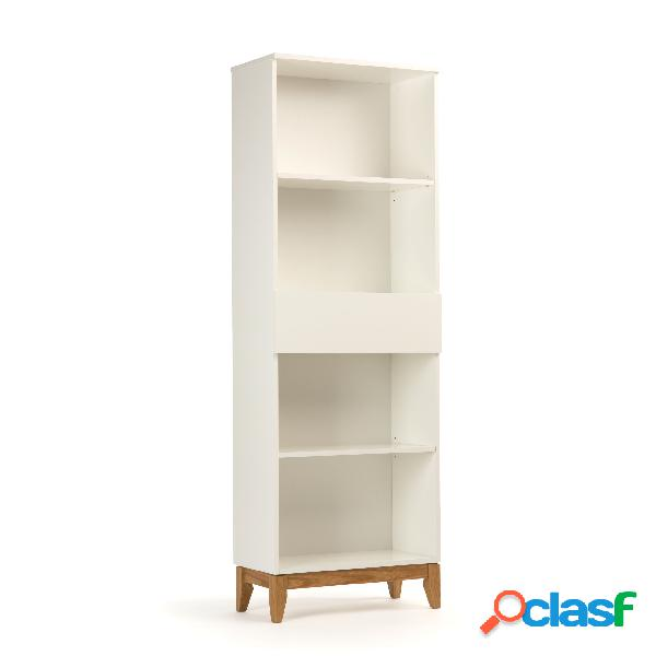 Libreria blanco in legno ingegnerizzato e massiccio, dimensioni 62 x 32 x h180 cm, peso 29 kg, finitura bianco, rovere