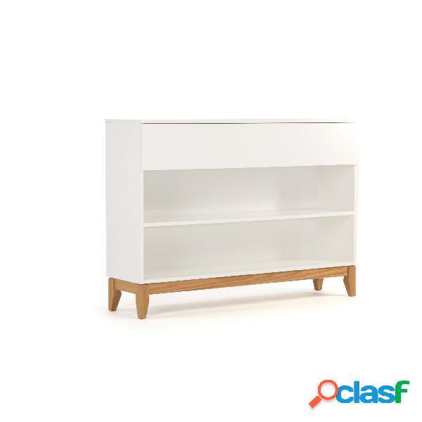 Libreria console blanco in legno ingegnerizzato e massiccio, dimensioni 120 x 32 x h85 cm, peso 28 kg, finitura bianco, rovere