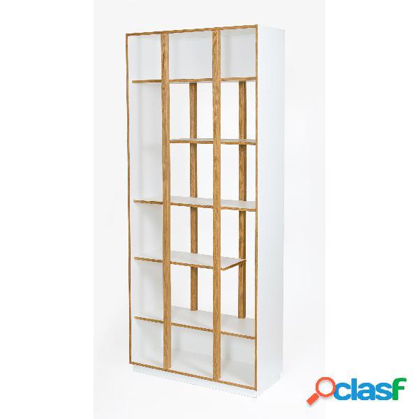 Libreria di newbury in legno ingegnerizzato e massiccio, dimensioni 90 x 35 x h210 cm, peso 46 kg, finitura bianco, rovere