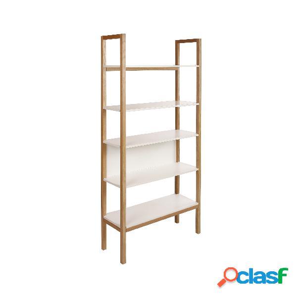 Libreria farringdon in legno ingegnerizzato e massiccio, dimensioni 90 x 32 x h185 cm, peso 27 kg, finitura bianco, rovere