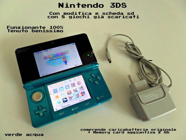 Nintendo 3ds con modifica e scheda sd + giochi 8