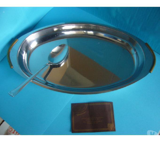 Piatto vassoio ovale acciaio inox risottiera cm 40
