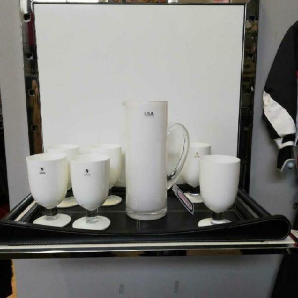 Vassoio nero con servizio bicchieri 6 pezzi+brocca le perle