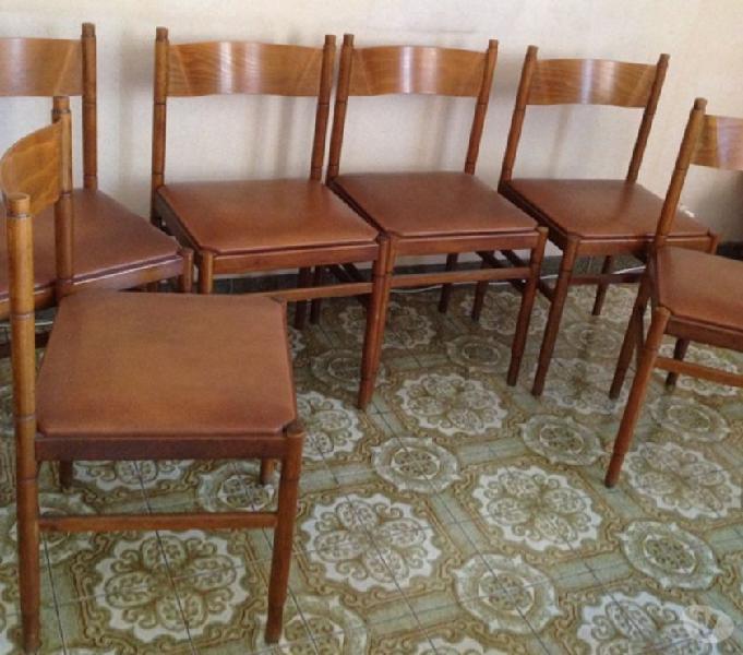6 sedie legno seduta sky pelle vintage