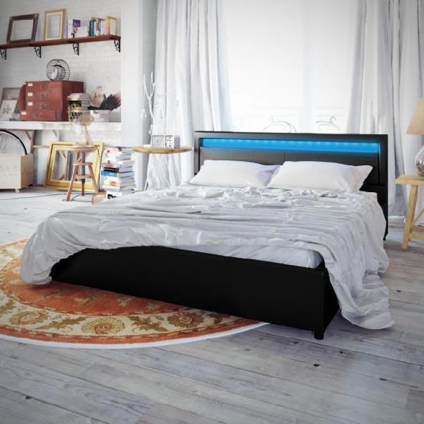 Vidaxl letto con materasso a led nero in similpelle 180x200