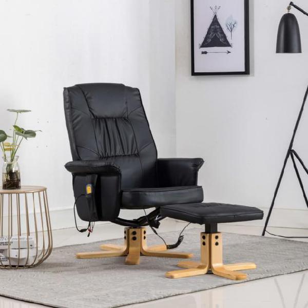 Vidaxl poltrona massaggiante reclinabile e poggiapiedi nera