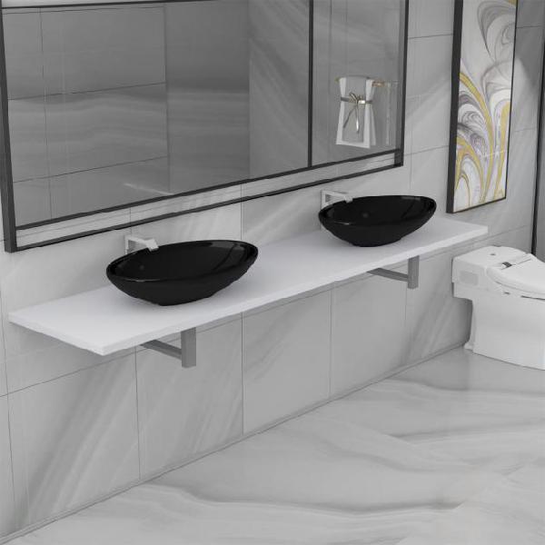 Vidaxl set mobili da bagno 3 pz in ceramica bianca