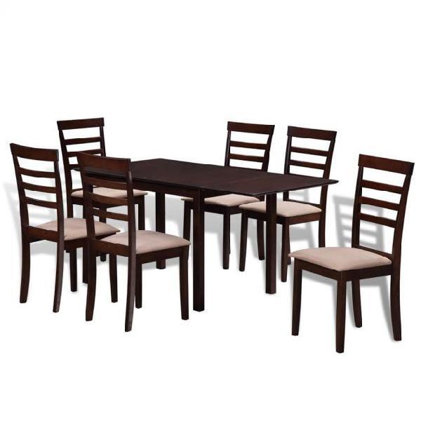 Vidaxl set tavolo da pranzo con estensione e 6 sedie in
