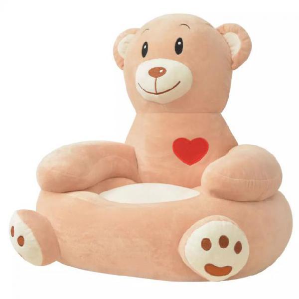 Vidaxl poltrona in peluche per bambini orso marrone